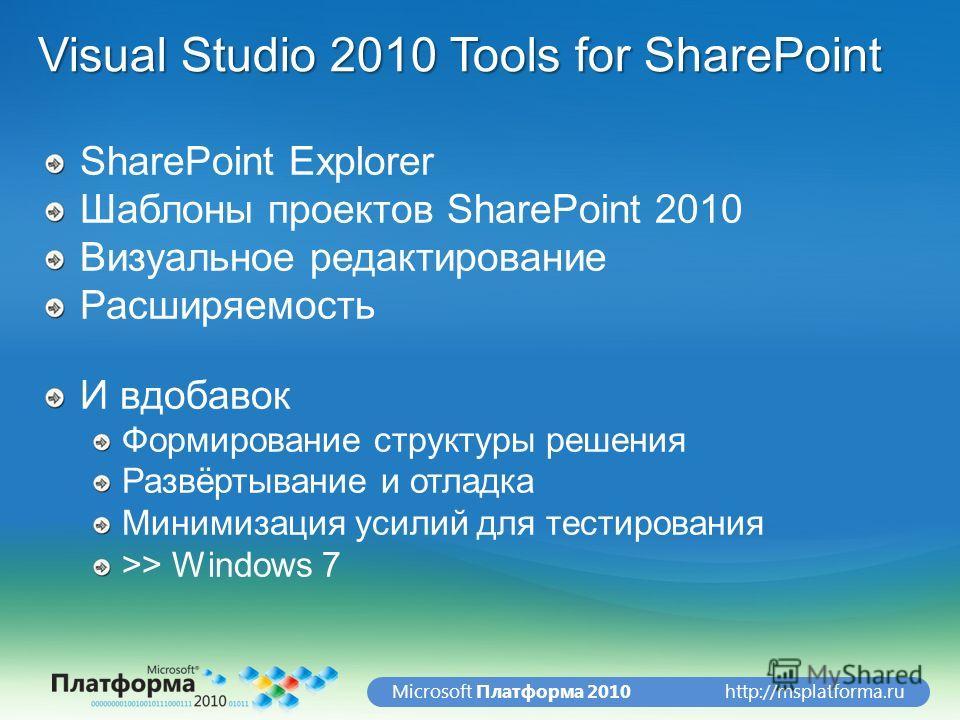 http://msplatforma.ruMicrosoft Платформа 2010 Visual Studio 2010 Tools for SharePoint SharePoint Explorer Шаблоны проектов SharePoint 2010 Визуальное редактирование Расширяемость И вдобавок Формирование структуры решения Развёртывание и отладка Миним