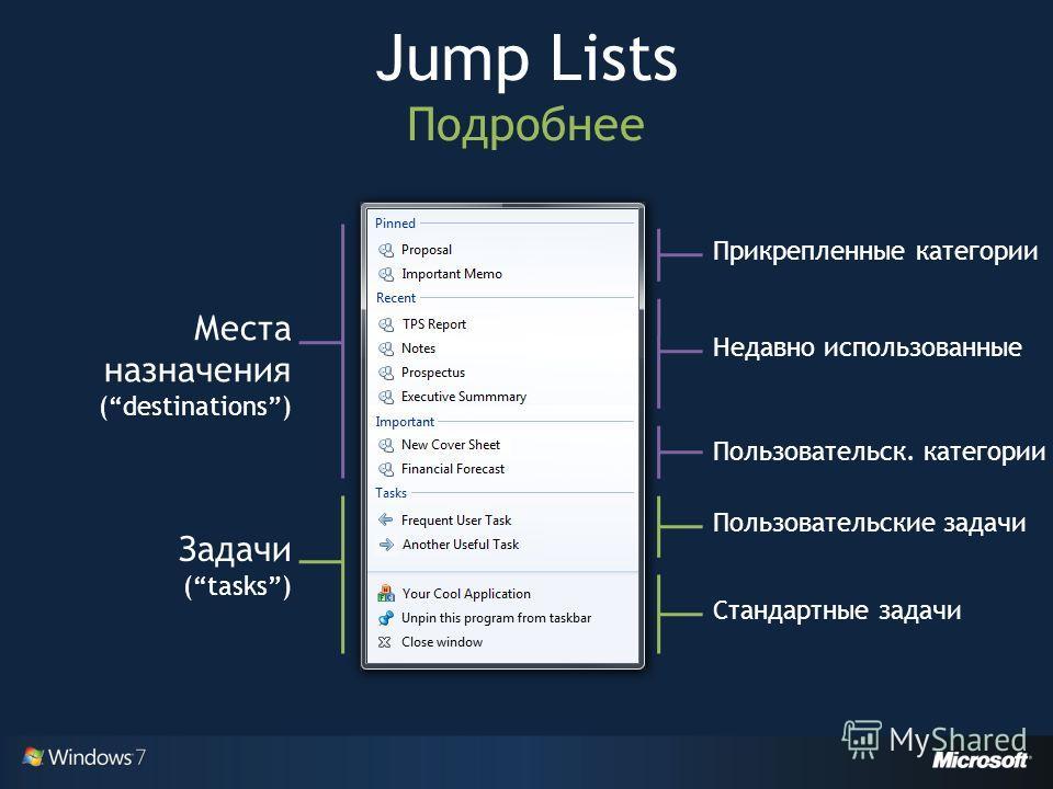Jump Lists Подробнее Места назначения (destinations) Задачи (tasks) Недавно использованные Пользовательск. категории Пользовательские задачи Стандартные задачи Прикрепленные категории
