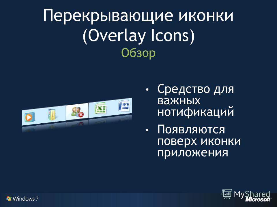 Перекрывающие иконки (Overlay Icons) Обзор Средство для важных нотификаций Появляются поверх иконки приложения
