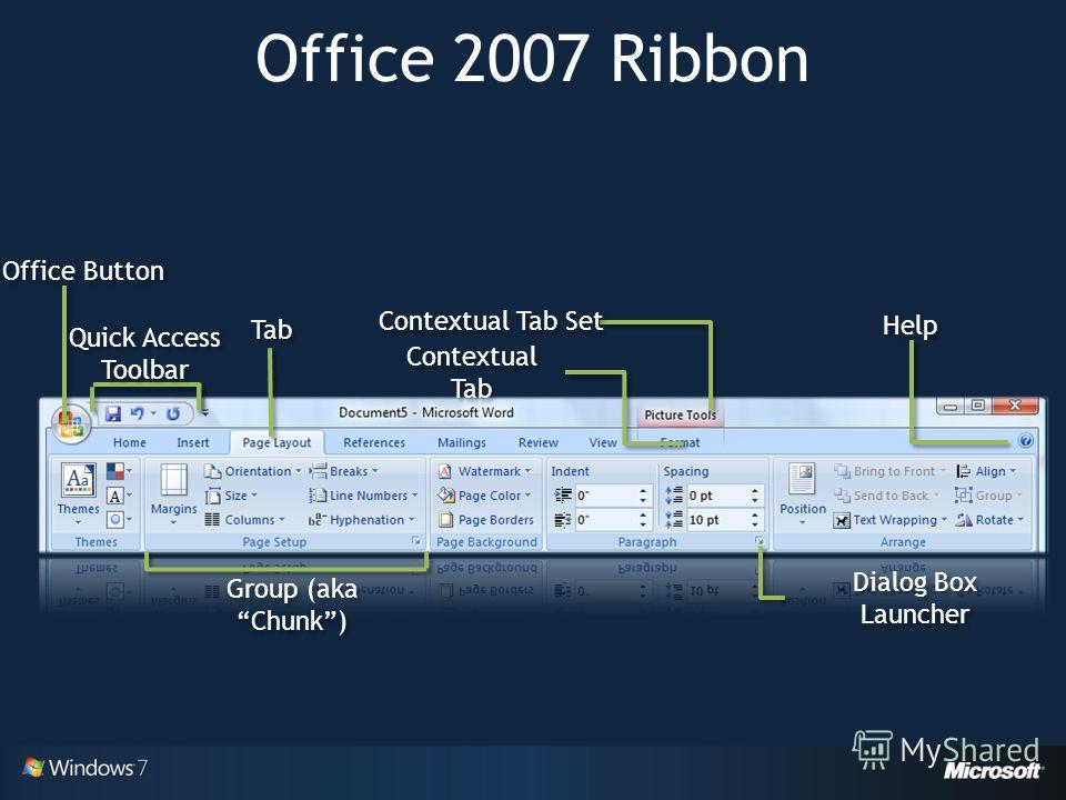 Office 2007 Ribbon Office Button Quick Access Toolbar Tab Contextual Tab Set Contextual Tab Help Group (aka Chunk) Dialog Box Launcher