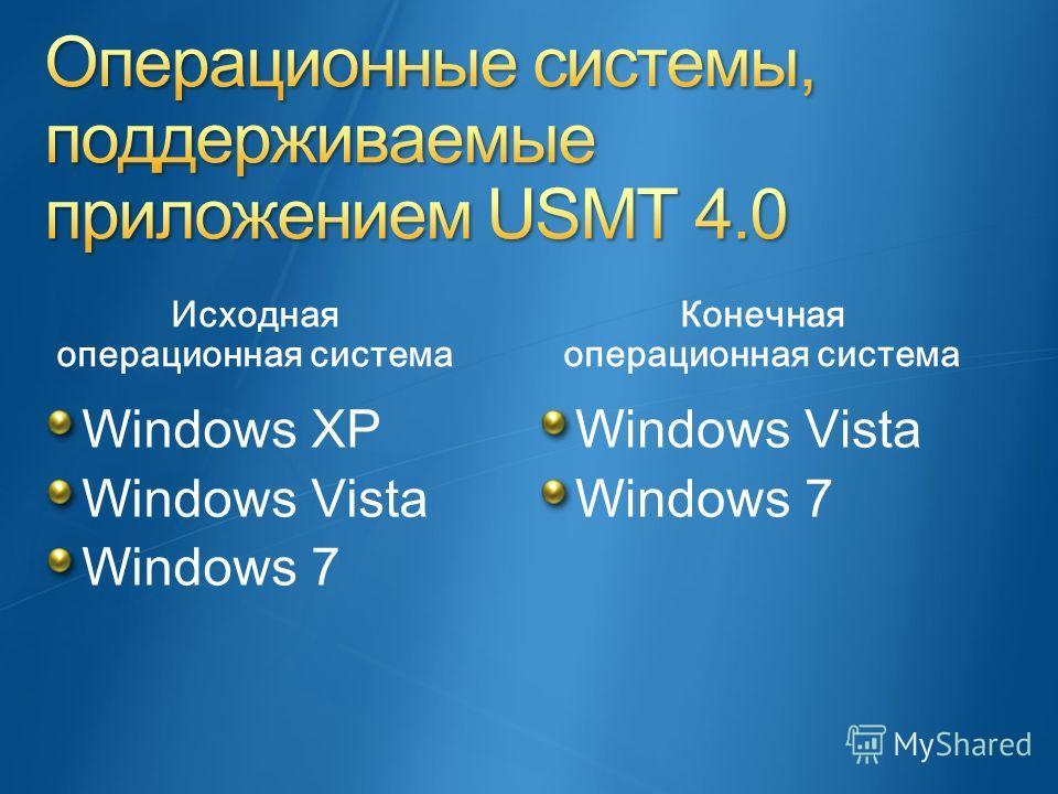 Исходная операционная система Windows XP Windows Vista Windows 7 Конечная операционная система Windows Vista Windows 7