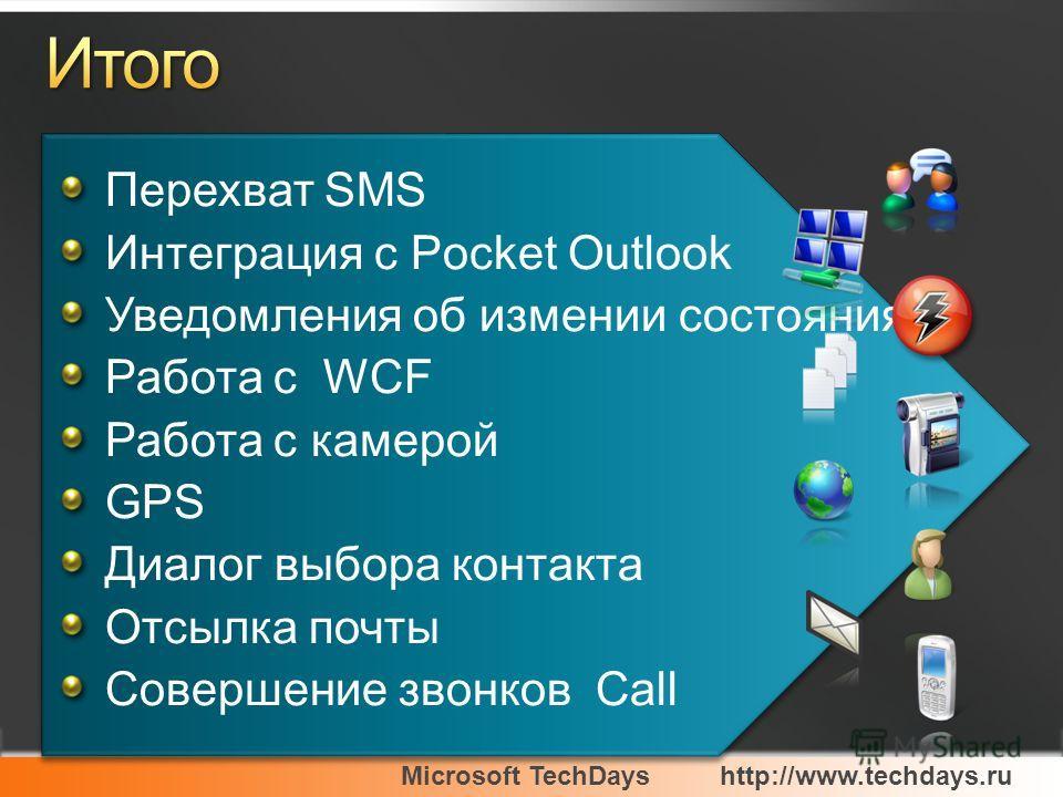 Microsoft TechDayshttp://www.techdays.ru Перехват SMS Интеграция с Pocket Outlook Уведомления об измении состояния Работа с WCF Работа с камерой GPS Диалог выбора контакта Отсылка почты Совершение звонков Call