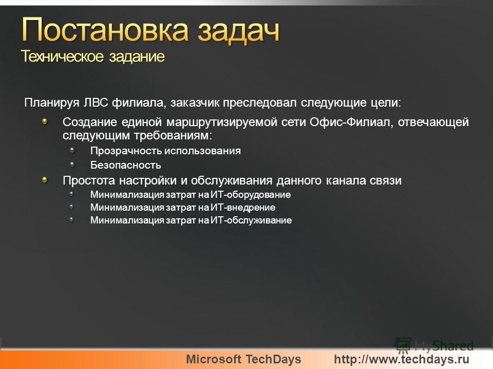 Microsoft TechDayshttp://www.techdays.ru Создание единой маршрутизируемой сети Офис-Филиал, отвечающей следующим требованиям: Прозрачность использования Безопасность Простота настройки и обслуживания данного канала связи Минимализация затрат на ИТ-об