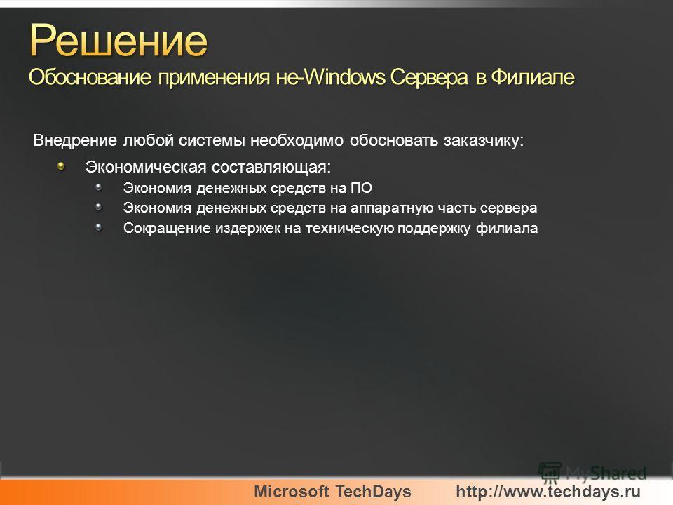 Microsoft TechDayshttp://www.techdays.ru Экономическая составляющая: Экономия денежных средств на ПО Экономия денежных средств на аппаратную часть сервера Сокращение издержек на техническую поддержку филиала Внедрение любой системы необходимо обоснов