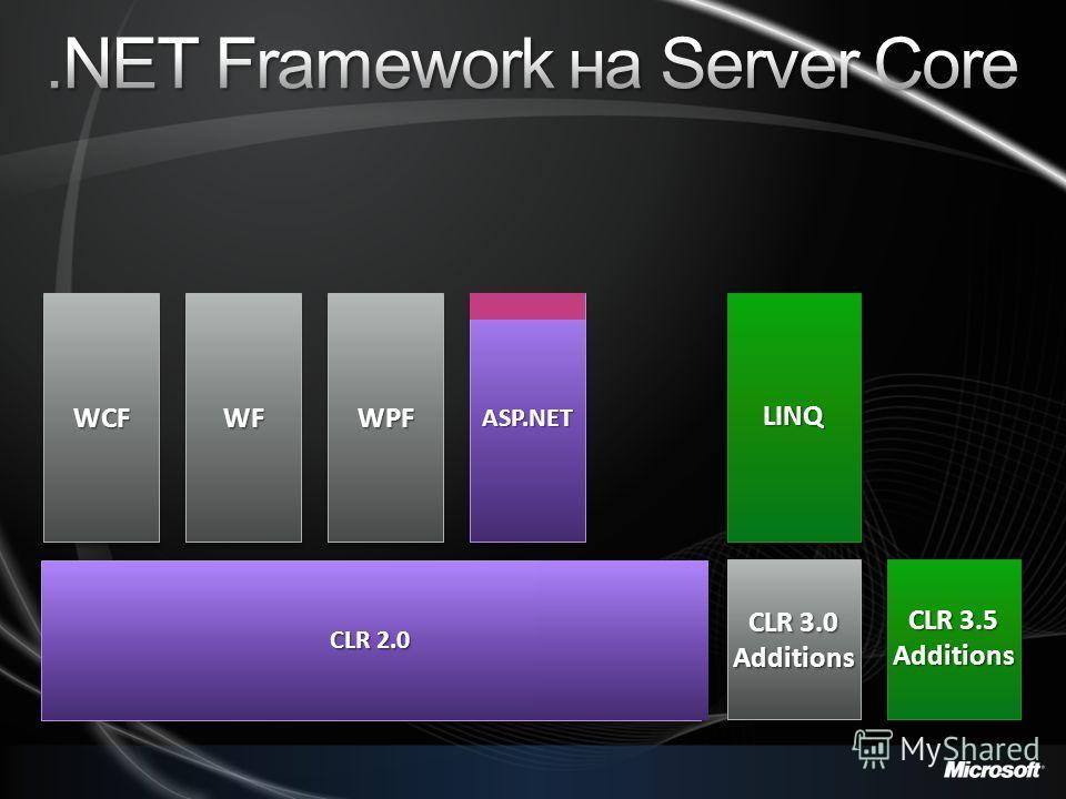CLR 2.0 ASP.NETASP.NET WPF LINQLINQ CLR 3.0 Additions Additions CLR 3.5 Additions Additions WPFWPFWCFWCFWFWF