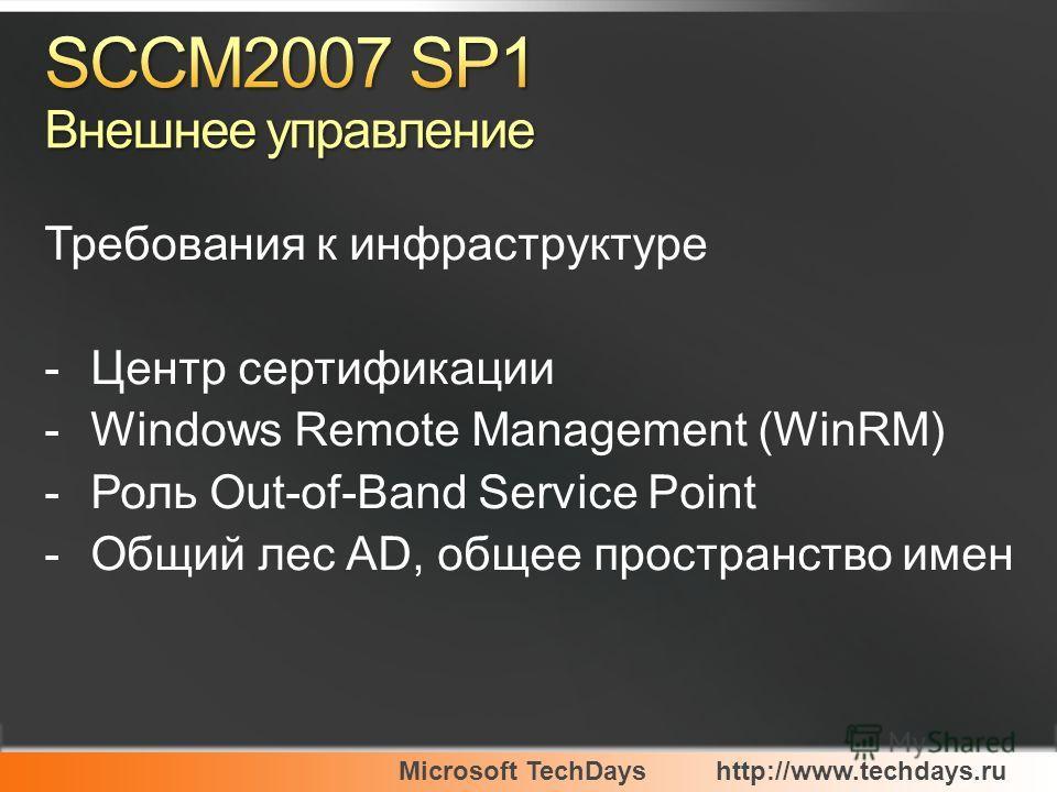 Microsoft TechDayshttp://www.techdays.ru Требования к инфраструктуре -Центр сертификации -Windows Remote Management (WinRM) -Роль Out-of-Band Service Point -Общий лес AD, общее пространство имен