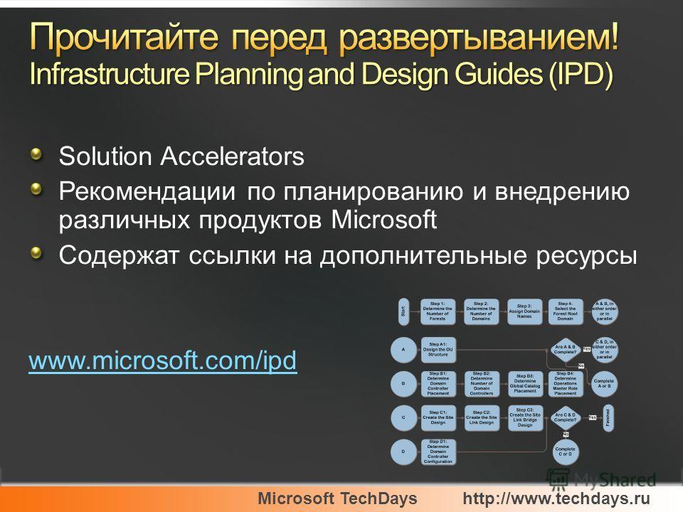 Microsoft TechDayshttp://www.techdays.ru Solution Accelerators Рекомендации по планированию и внедрению различных продуктов Microsoft Содержат ссылки на дополнительные ресурсы www.microsoft.com/ipd