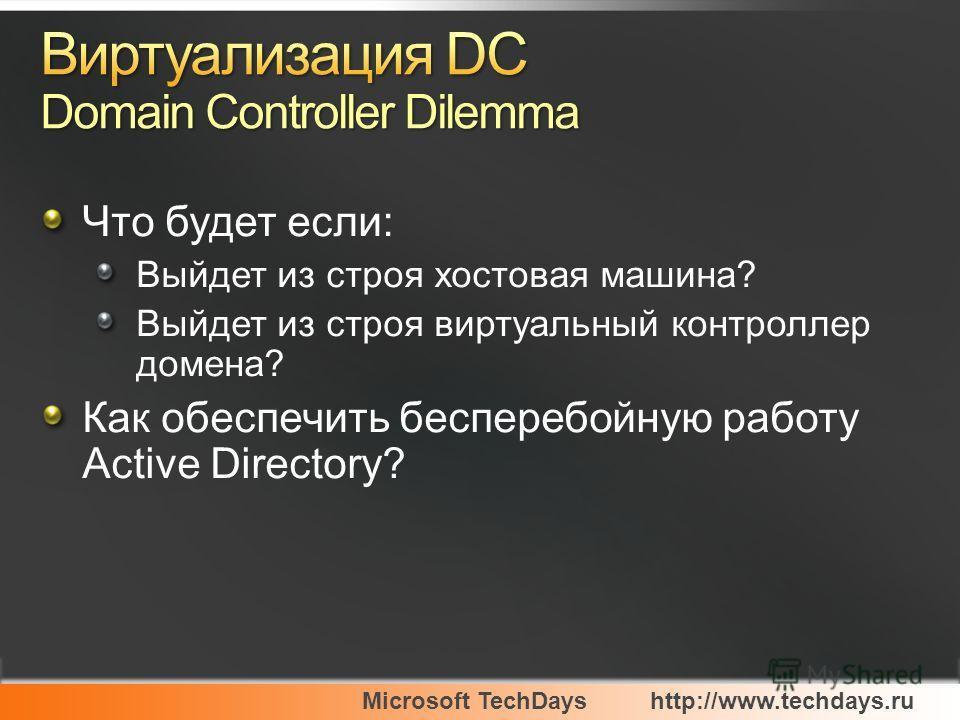 Microsoft TechDayshttp://www.techdays.ru Что будет если: Выйдет из строя хостовая машина? Выйдет из строя виртуальный контроллер домена? Как обеспечить бесперебойную работу Active Directory?