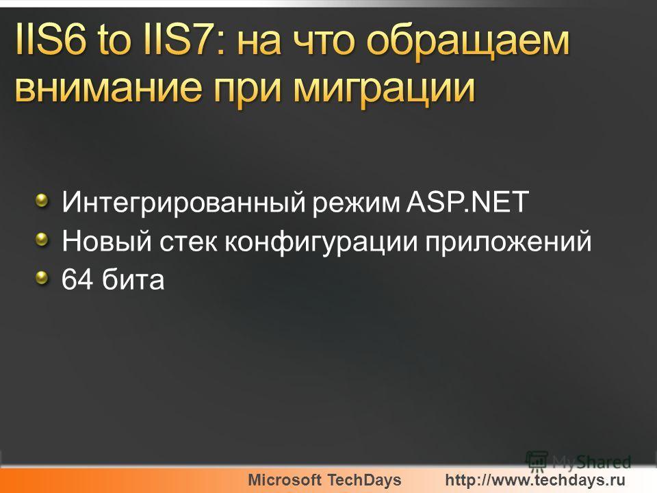 Microsoft TechDayshttp://www.techdays.ru Интегрированный режим ASP.NET Новый стек конфигурации приложений 64 бита