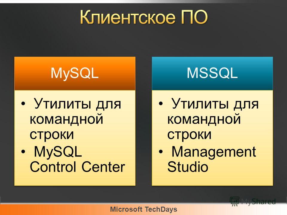 Microsoft TechDays MySQL Утилиты для командной строки MySQL Control Center MSSQL Утилиты для командной строки Management Studio