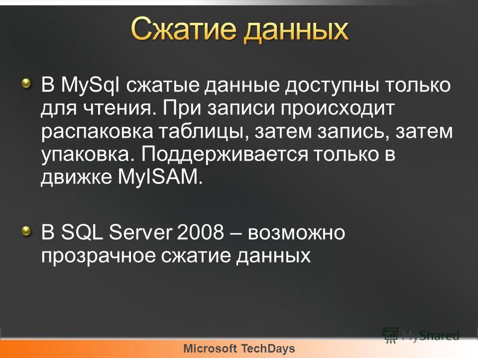 Microsoft TechDays В MySql сжатые данные доступны только для чтения. При записи происходит распаковка таблицы, затем запись, затем упаковка. Поддерживается только в движке MyISAM. В SQL Server 2008 – возможно прозрачное сжатие данных