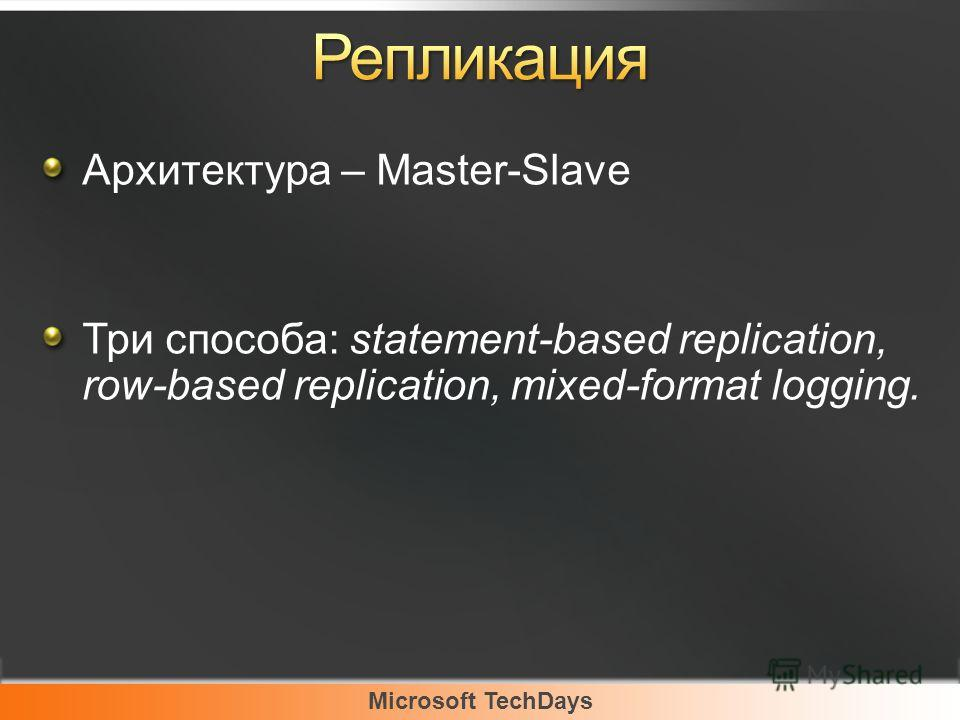 Microsoft TechDays Архитектура – Master-Slave Три способа: statement-based replication, row-based replication, mixed-format logging.