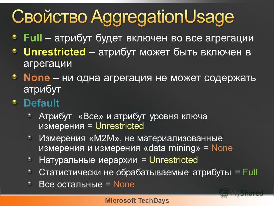 Microsoft TechDays Full – атрибут будет включен во все агрегации Unrestricted – атрибут может быть включен в агрегации None – ни одна агрегация не может содержать атрибут Default Атрибут «Все» и атрибут уровня ключа измерения = Unrestricted Измерения
