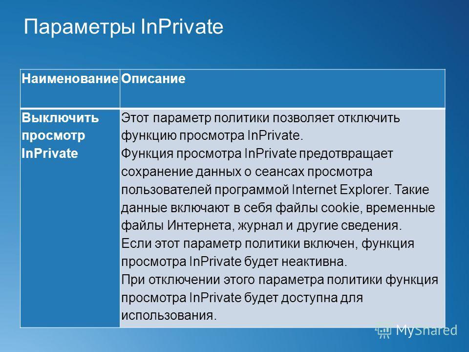 Параметры InPrivate НаименованиеОписание Выключить просмотр InPrivate Этот параметр политики позволяет отключить функцию просмотра InPrivate. Функция просмотра InPrivate предотвращает сохранение данных о сеансах просмотра пользователей программой Int