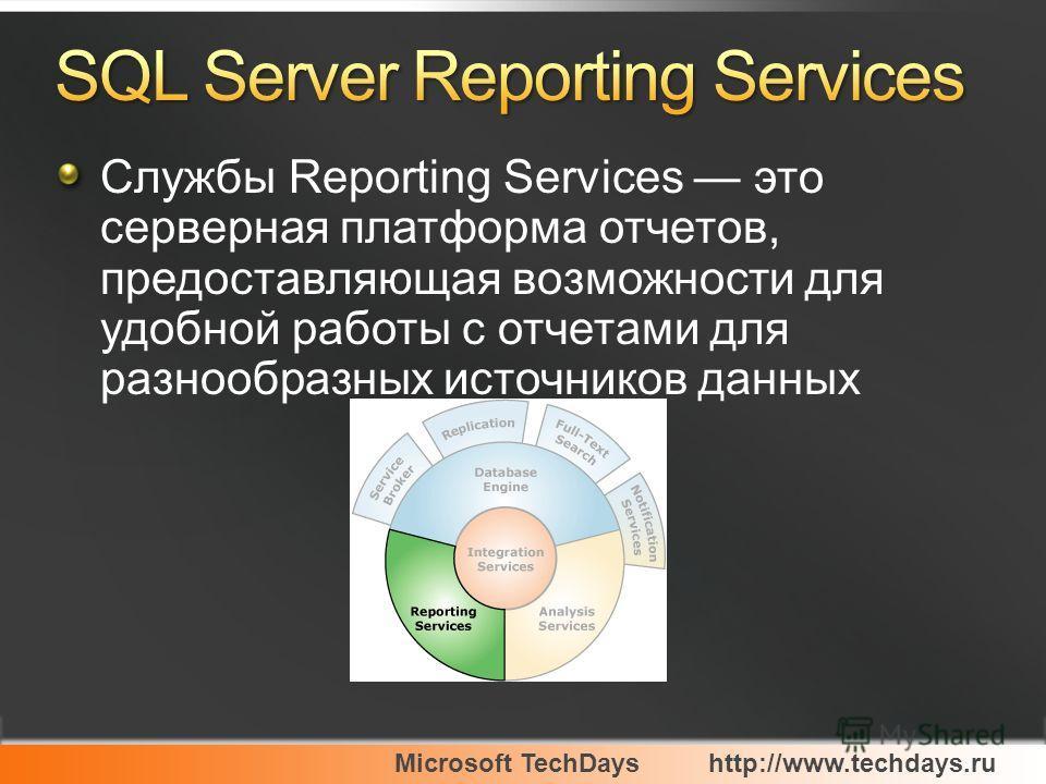 Microsoft TechDayshttp://www.techdays.ru Службы Reporting Services это серверная платформа отчетов, предоставляющая возможности для удобной работы с отчетами для разнообразных источников данных
