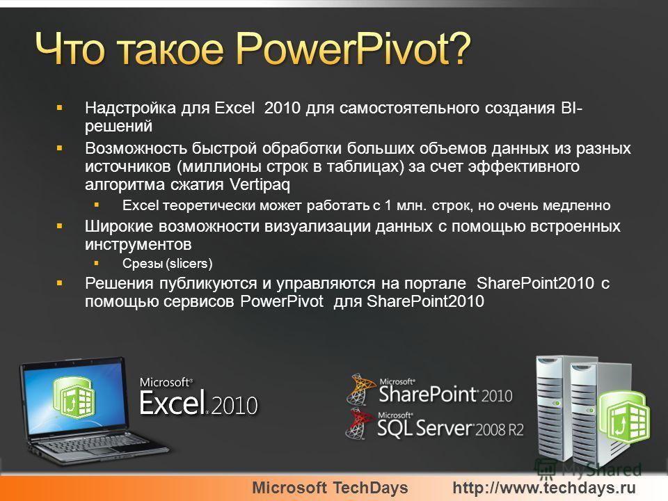 Microsoft TechDayshttp://www.techdays.ru Надстройка для Excel 2010 для самостоятельного создания BI- решений Возможность быстрой обработки больших объемов данных из разных источников (миллионы строк в таблицах) за счет эффективного алгоритма сжатия V