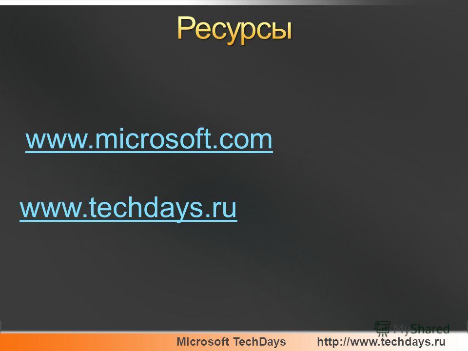 Microsoft TechDayshttp://www.techdays.ru www.microsoft.com www.techdays.ru