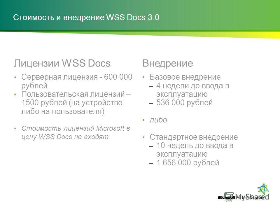 Стоимость и внедрение WSS Docs 3.0 Лицензии WSS Docs Серверная лицензия - 600 000 рублей Пользовательская лицензий – 1500 рублей (на устройство либо на пользователя) Стоимость лицензий Microsoft в цену WSS Docs не входят Внедрение Базовое внедрение –