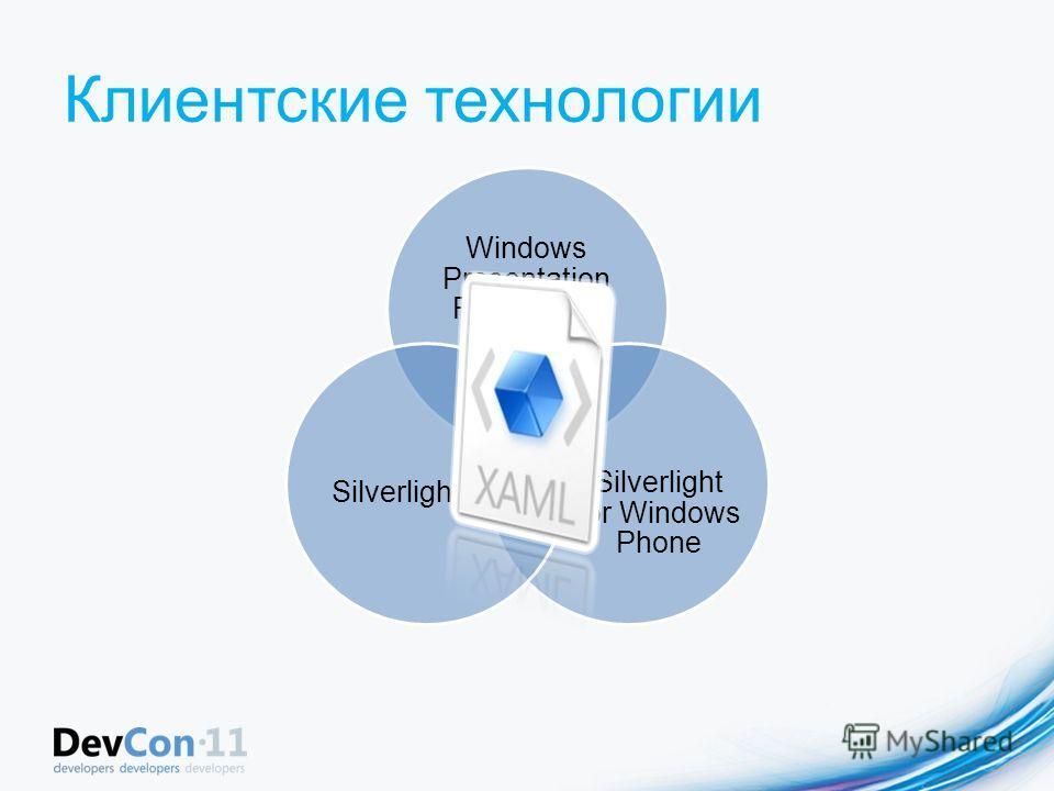 Клиентские технологии Windows Presentation Foundation Silverlight for Windows Phone Silverlight