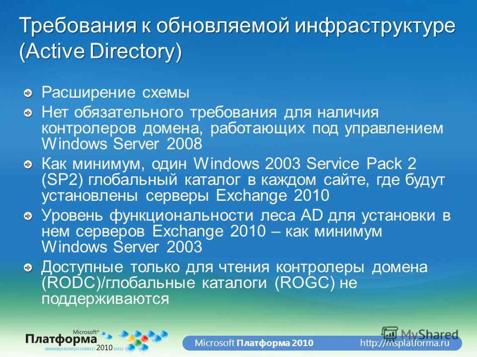 http://msplatforma.ruMicrosoft Платформа 2010 Требования к обновляемой инфраструктуре (Active Directory) Расширение схемы Нет обязательного требования для наличия контролеров домена, работающих под управлением Windows Server 2008 Как минимум, один Wi