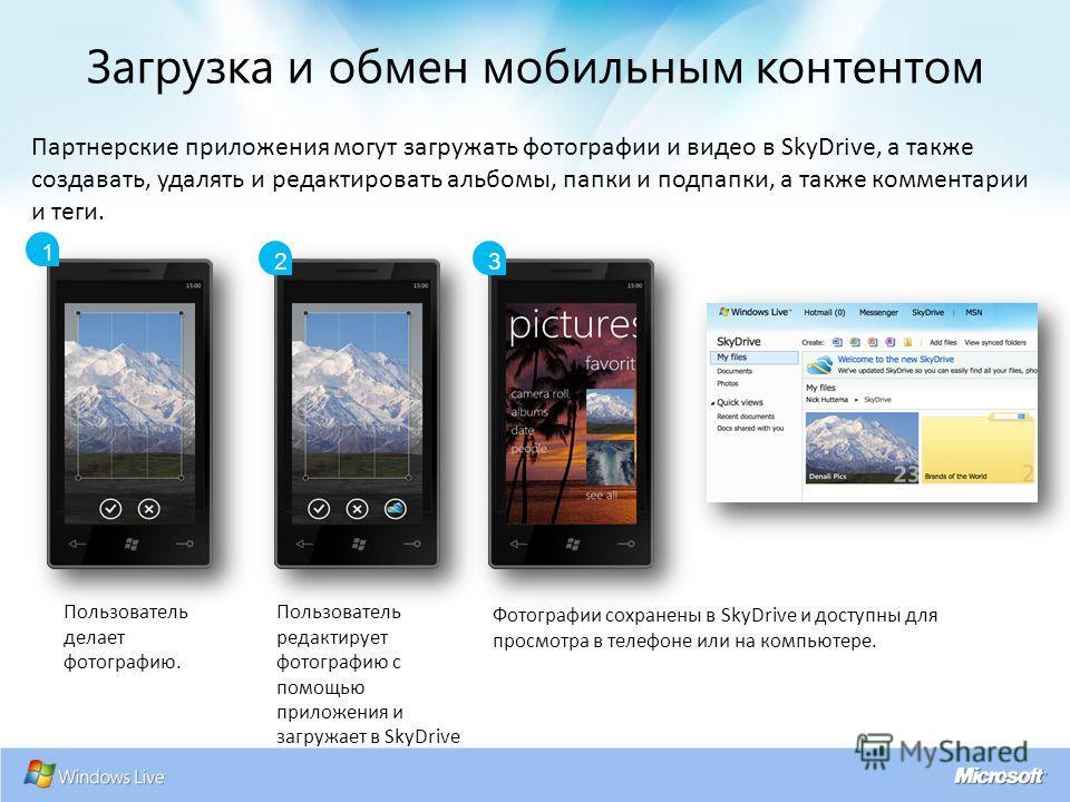 1 23 Пользователь делает фотографию. Пользователь редактирует фотографию с помощью приложения и загружает в SkyDrive Фотографии сохранены в SkyDrive и доступны для просмотра в телефоне или на компьютере. Партнерские приложения могут загружать фотогра