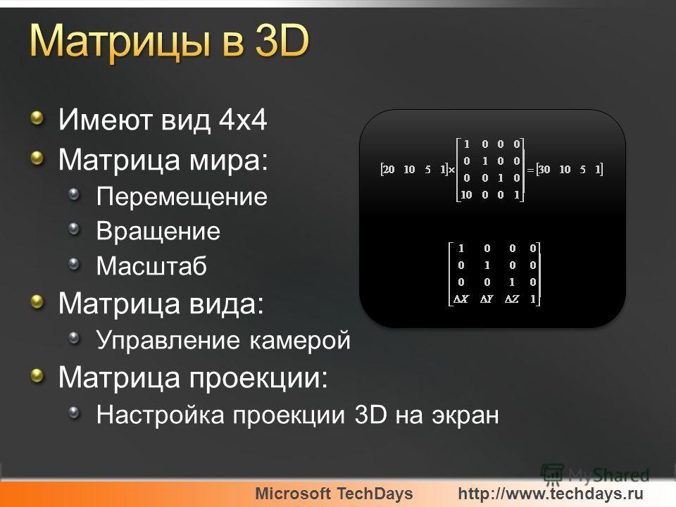 Microsoft TechDayshttp://www.techdays.ru Имеют вид 4x4 Матрица мира: Перемещение Вращение Масштаб Матрица вида: Управление камерой Матрица проекции: Настройка проекции 3D на экран