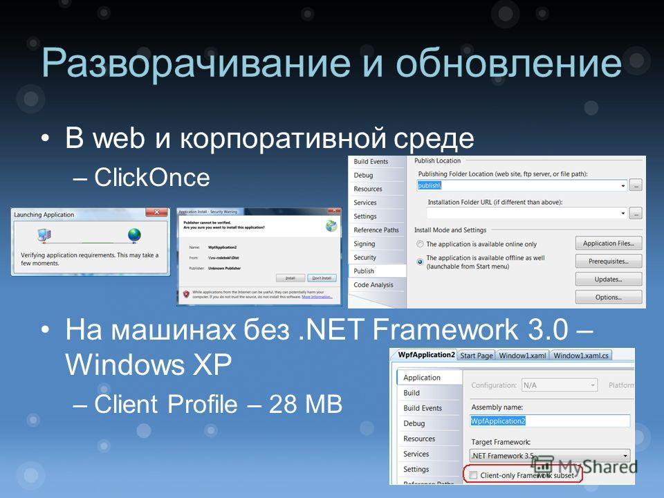 Разворачивание и обновление В web и корпоративной среде –ClickOnce На машинах без.NET Framework 3.0 – Windows XP –Client Profile – 28 MB