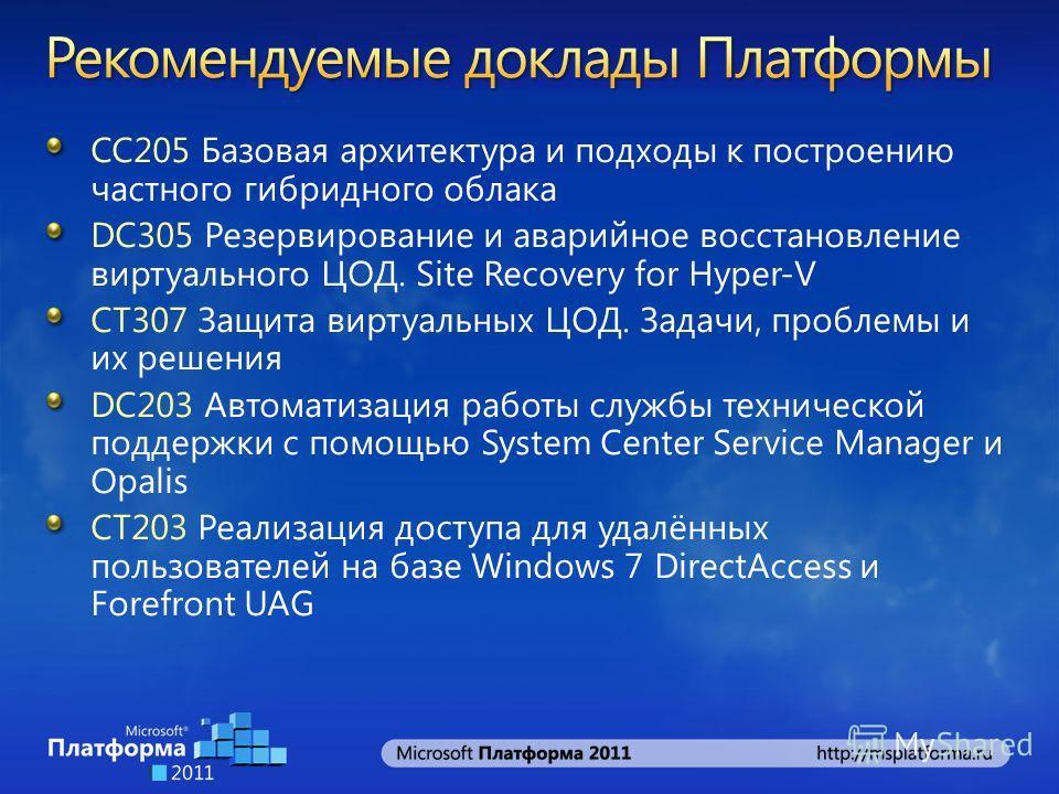 СС205 Базовая архитектура и подходы к построению частного гибридного облака DC305 Резервирование и аварийное восстановление виртуального ЦОД. Site Recovery for Hyper-V CT307 Защита виртуальных ЦОД. Задачи, проблемы и их решения DC203 Автоматизация ра