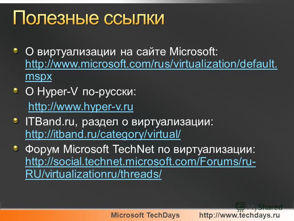 Microsoft TechDayshttp://www.techdays.ru О виртуализации на сайте Microsoft: http://www.microsoft.com/rus/virtualization/default. mspx http://www.microsoft.com/rus/virtualization/default. mspx О Hyper-V по-русски: http://www.hyper-v.ru ITBand.ru, раз