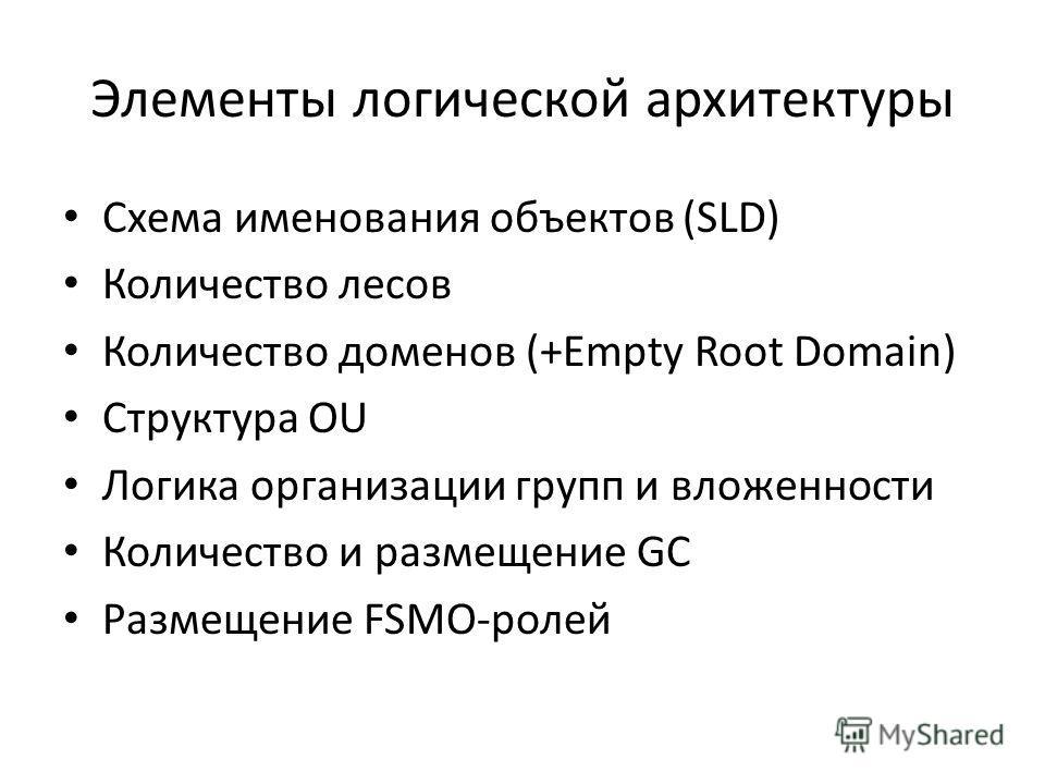 Элементы логической архитектуры Схема именования объектов (SLD) Количество лесов Количество доменов (+Empty Root Domain) Структура OU Логика организации групп и вложенности Количество и размещение GC Размещение FSMO-ролей