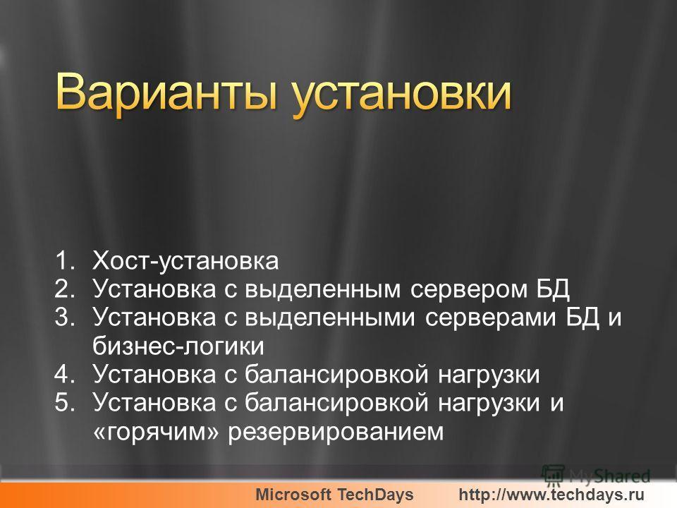 Microsoft TechDayshttp://www.techdays.ru 1.Хост-установка 2.Установка с выделенным сервером БД 3.Установка с выделенными серверами БД и бизнес-логики 4.Установка с балансировкой нагрузки 5.Установка с балансировкой нагрузки и «горячим» резервирование