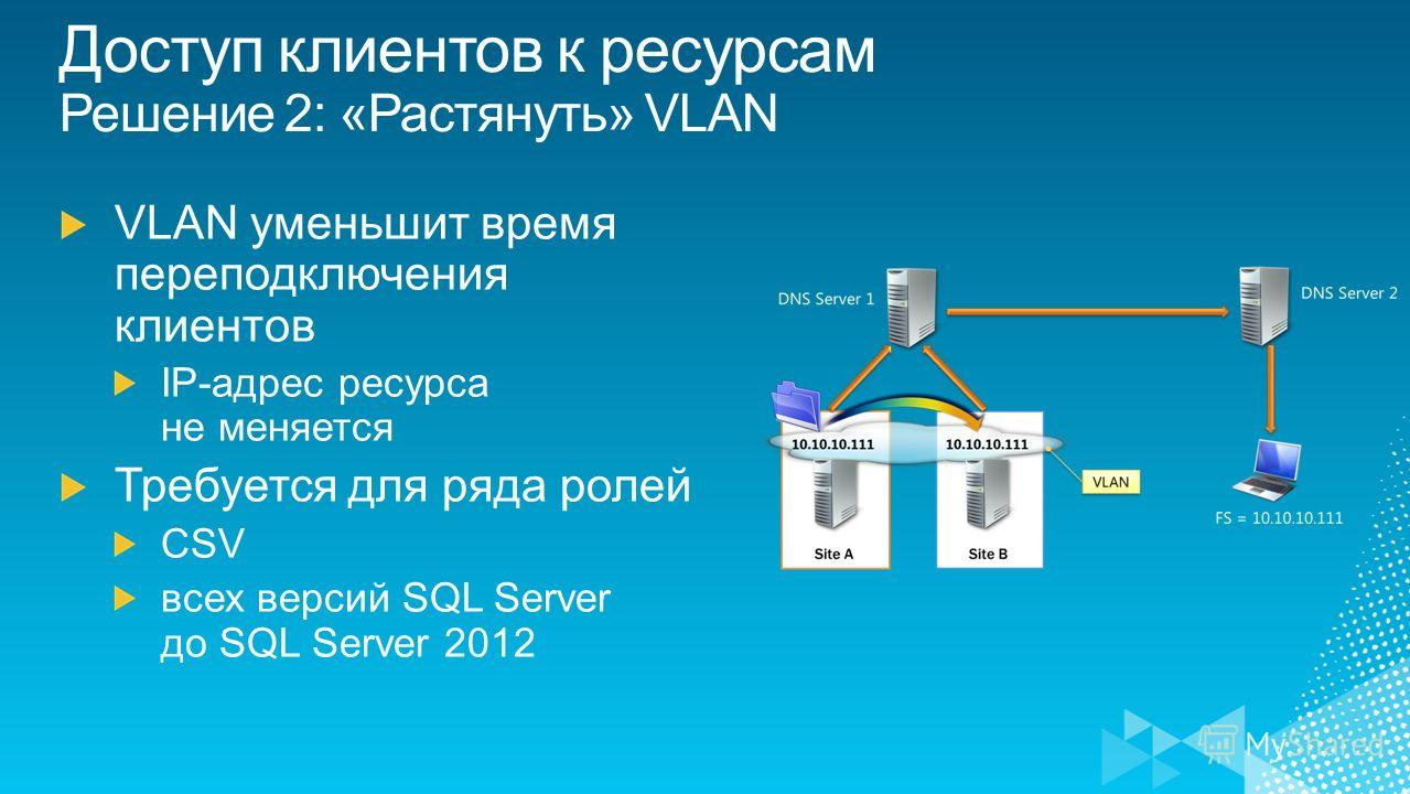 Доступ клиентов к ресурсам Решение 2: «Растянуть» VLAN
