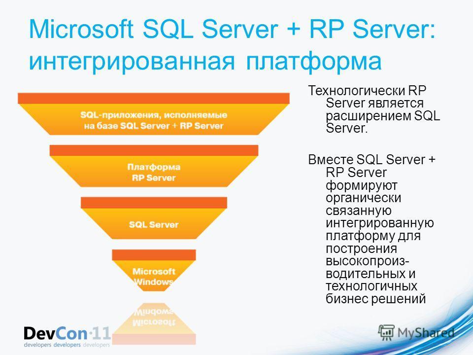 Microsoft SQL Server + RP Server: интегрированная платформа Технологически RP Server является расширением SQL Server. Вместе SQL Server + RP Server формируют органически связанную интегрированную платформу для построения высокопроиз- водительных и те