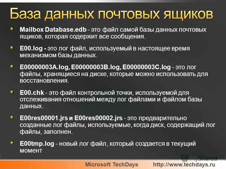 Microsoft TechDayshttp://www.techdays.ru Mailbox Database.edb - это файл самой базы данных почтовых ящиков, которая содержит все сообщения. E00.log - это лог файл, используемый в настоящее время механизмом базы данных. E00000003A.log, E00000003B.log,