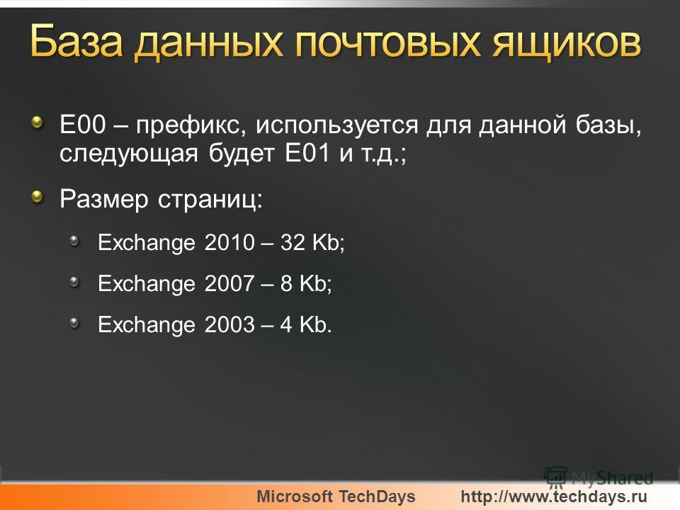 Microsoft TechDayshttp://www.techdays.ru E00 – префикс, используется для данной базы, следующая будет E01 и т.д.; Размер страниц: Exchange 2010 – 32 Kb; Exchange 2007 – 8 Kb; Exchange 2003 – 4 Kb.