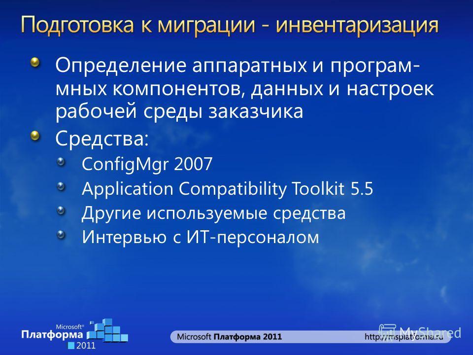 Определение аппаратных и програм- мных компонентов, данных и настроек рабочей среды заказчика Средства: ConfigMgr 2007 Application Compatibility Toolkit 5.5 Другие используемые средства Интервью с ИТ-персоналом