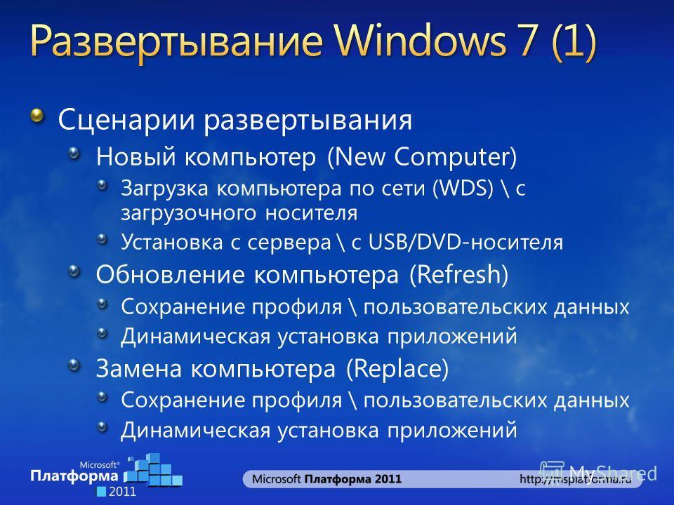 Сценарии развертывания Новый компьютер (New Computer) Загрузка компьютера по сети (WDS) \ с загрузочного носителя Установка с сервера \ с USB/DVD-носителя Обновление компьютера (Refresh) Сохранение профиля \ пользовательских данных Динамическая устан