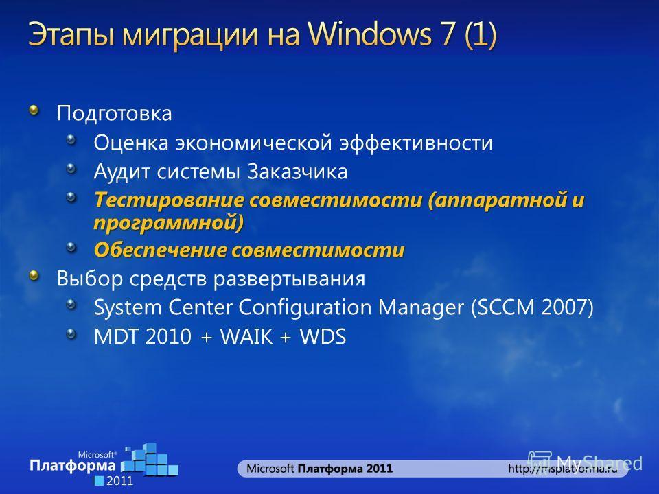 Подготовка Оценка экономической эффективности Аудит системы Заказчика Тестирование совместимости (аппаратной и программной) Обеспечение совместимости Выбор средств развертывания System Center Configuration Manager (SCCM 2007) MDT 2010 + WAIK + WDS