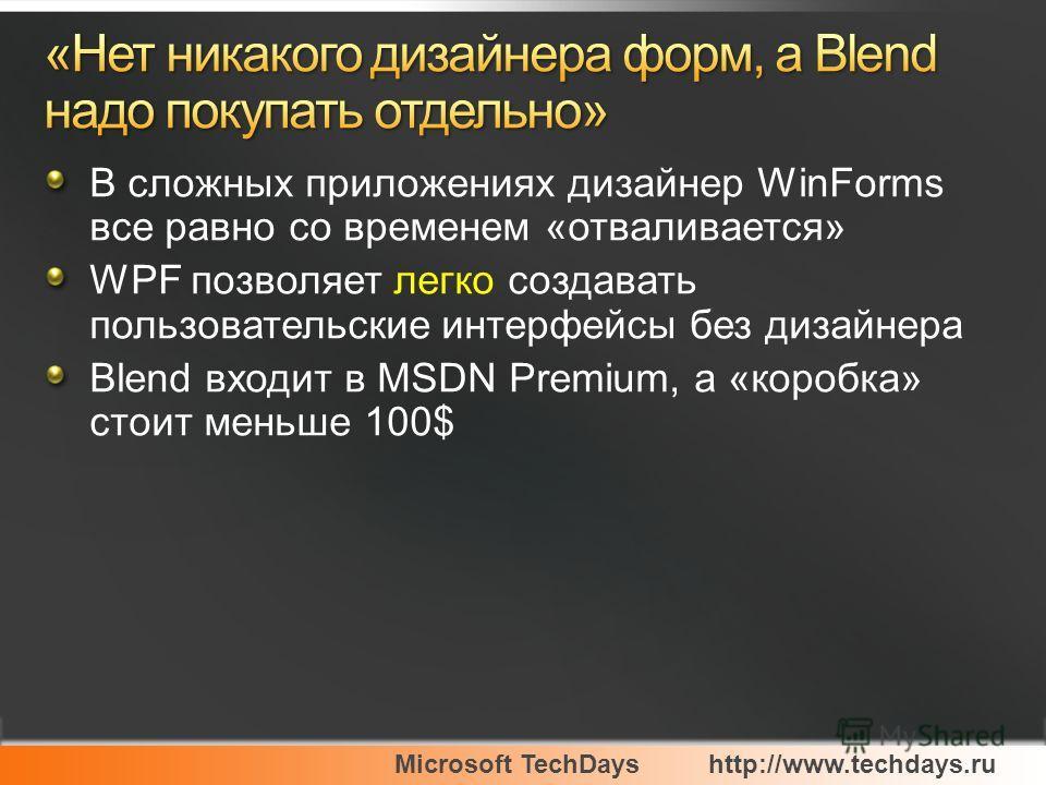 Microsoft TechDayshttp://www.techdays.ru В сложных приложениях дизайнер WinForms все равно со временем «отваливается» WPF позволяет легко создавать пользовательские интерфейсы без дизайнера Blend входит в MSDN Premium, а «коробка» стоит меньше 100$