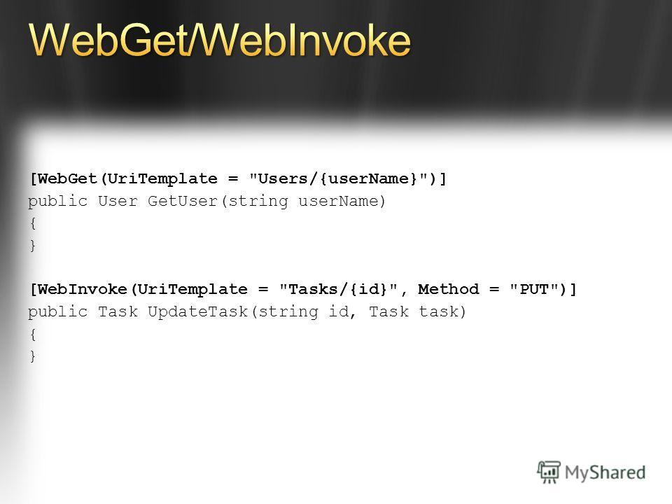 [WebGet(UriTemplate = Users/{userName})] public User GetUser(string userName) { } [WebInvoke(UriTemplate = Tasks/{id}, Method = PUT)] public Task UpdateTask(string id, Task task) { }