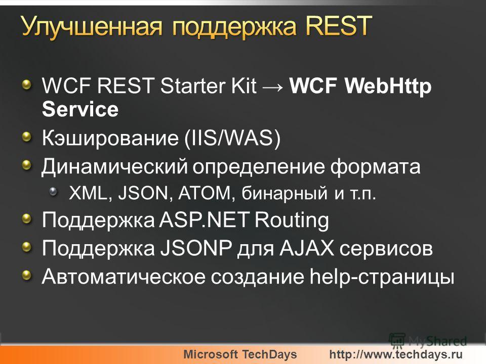 Microsoft TechDayshttp://www.techdays.ru WCF REST Starter Kit WCF WebHttp Service Кэширование (IIS/WAS) Динамический определение формата XML, JSON, ATOM, бинарный и т.п. Поддержка ASP.NET Routing Поддержка JSONP для AJAX сервисов Автоматическое созда
