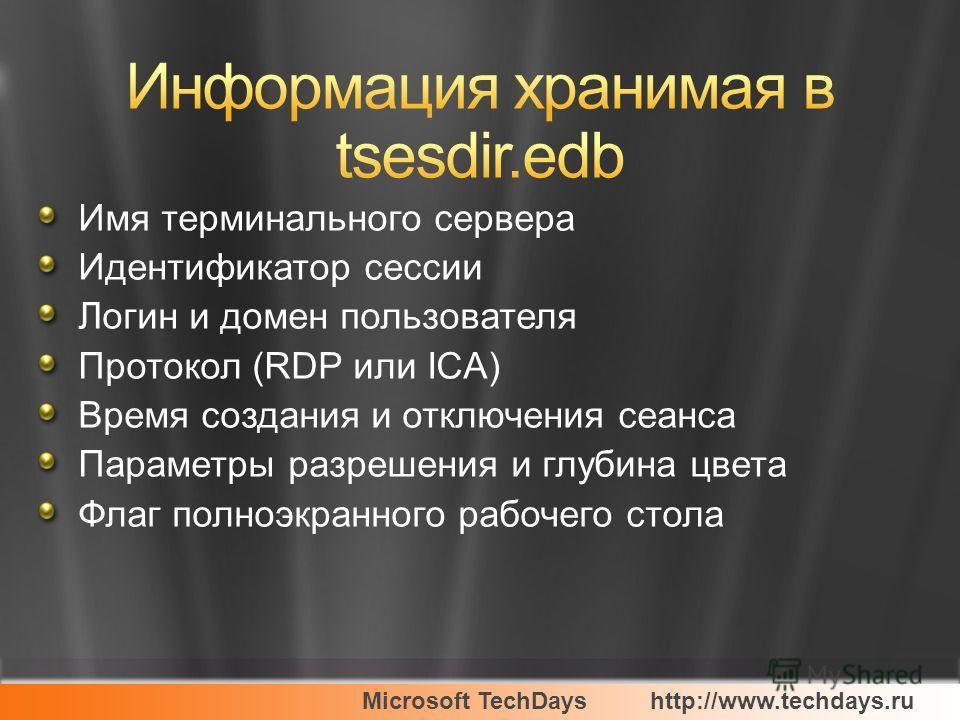 Microsoft TechDayshttp://www.techdays.ru Имя терминального сервера Идентификатор сессии Логин и домен пользователя Протокол (RDP или ICA) Время создания и отключения сеанса Параметры разрешения и глубина цвета Флаг полноэкранного рабочего стола