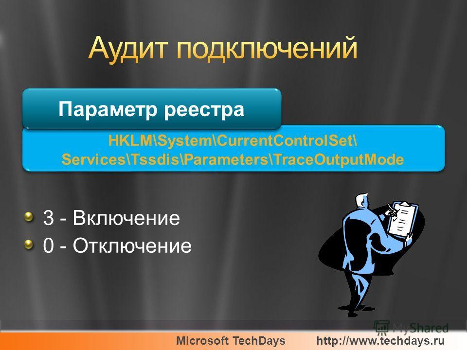 Microsoft TechDayshttp://www.techdays.ru HKLM\System\CurrentControlSet\ Services\Tssdis\Parameters\TraceOutputMode 3 - Включение 0 - Отключение Параметр реестра