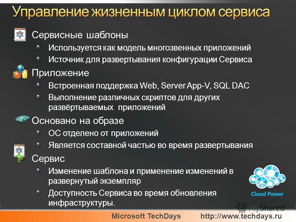 Microsoft TechDayshttp://www.techdays.ru Сервисные шаблоны Используется как модель многозвенных приложений Источник для развертывания конфигурации Сервиса Приложение Встроенная поддержка Web, Server App-V, SQL DAC Выполнение различных скриптов для др