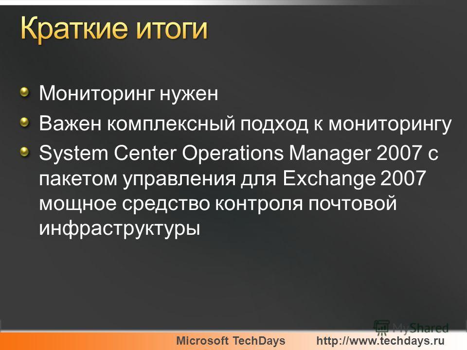 Мониторинг нужен Важен комплексный подход к мониторингу System Center Operations Manager 2007 с пакетом управления для Exchange 2007 мощное средство контроля почтовой инфраструктуры