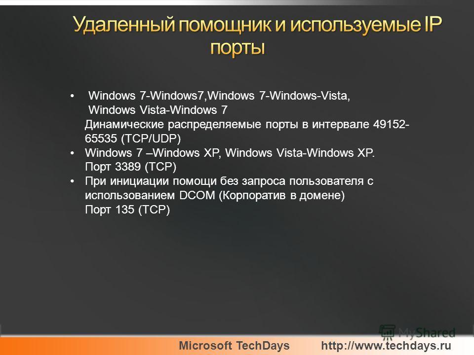 Microsoft TechDayshttp://www.techdays.ru Windows 7-Windows7,Windows 7-Windows-Vista, Windows Vista-Windows 7 Динамические распределяемые порты в интервале 49152- 65535 (TCP/UDP) Windows 7 –Windows XP, Windows Vista-Windows XP. Порт 3389 (TCP) При ини