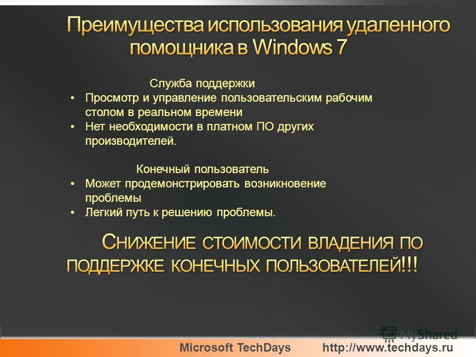 Microsoft TechDayshttp://www.techdays.ru Служба поддержки Просмотр и управление пользовательским рабочим столом в реальном времени Нет необходимости в платном ПО других производителей. Конечный пользователь Может продемонстрировать возникновение проб