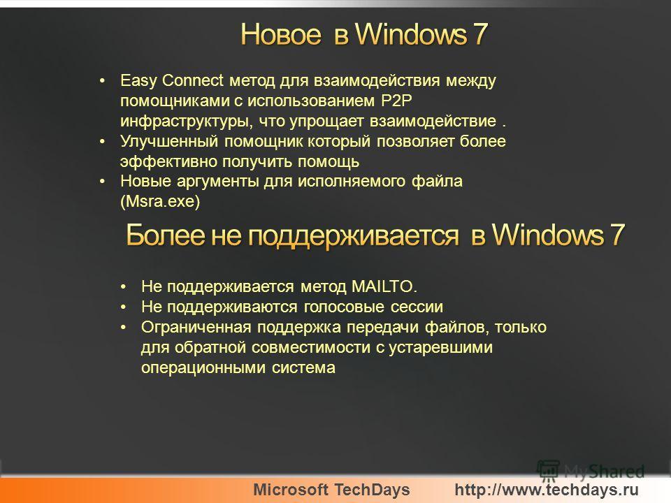 Microsoft TechDayshttp://www.techdays.ru Easy Connect метод для взаимодействия между помощниками с использованием P2P инфраструктуры, что упрощает взаимодействие. Улучшенный помощник который позволяет более эффективно получить помощь Новые аргументы