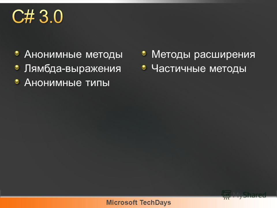 Microsoft TechDays Анонимные методы Лямбда-выражения Анонимные типы Методы расширения Частичные методы