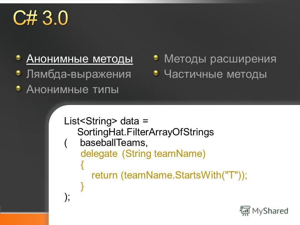 Microsoft TechDays Анонимные методы Лямбда-выражения Анонимные типы Методы расширения Частичные методы List data = SortingHat.FilterArrayOfStrings ( baseballTeams, delegate (String teamName) { return (teamName.StartsWith(T)); } );